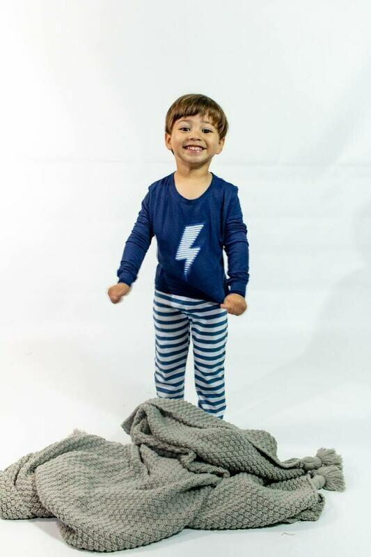 Pijama Cantel Sleep Niños Pantalón Y Camiseta Ml Líneas Azul/Blanco C/Rayo Verano 2021