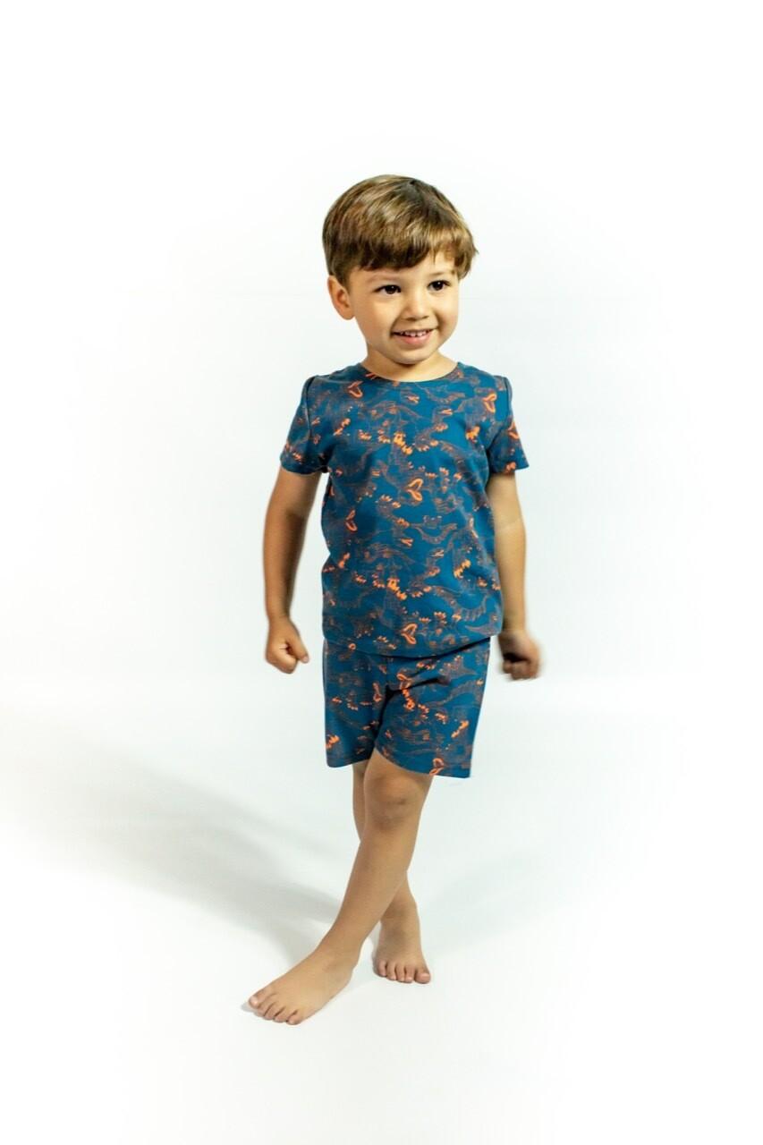 Pijama Cantel Sleep Niños Short Y Camiseta Mc Dinos Azul/Naranja Verano 2021