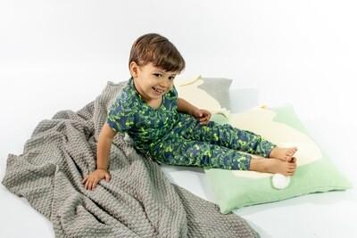 Pijama Cantel Sleep Niños Short Y Camiseta Mc Dinos Verde/Amarillo Verano 2021