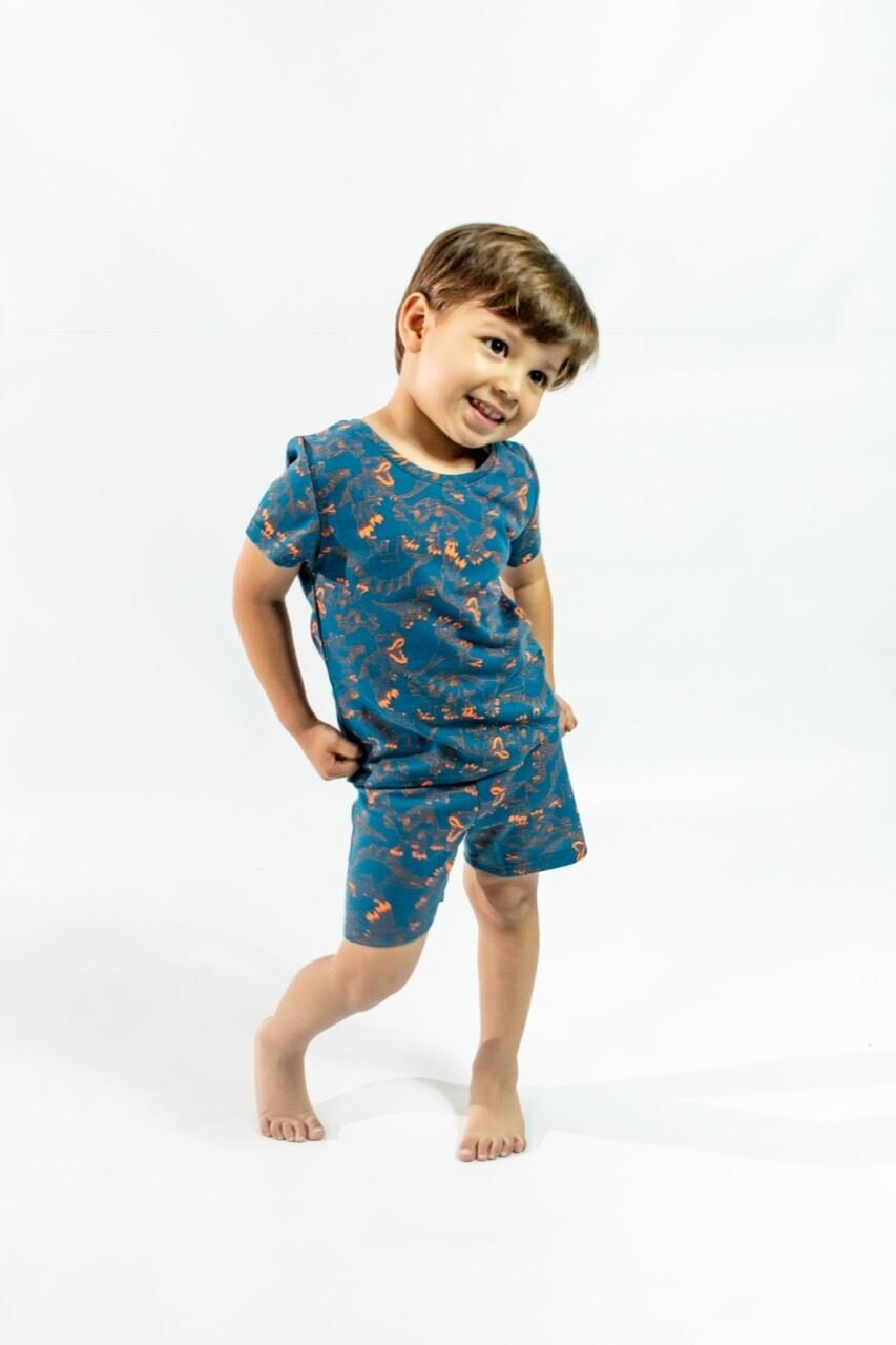 Pijama Cantel Sleep Niños Pantalón Y Camiseta Mc Dinos Azul/Naranja Verano 2021