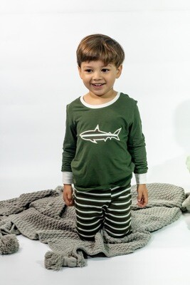 Pijama Cantel Sleep Niños Pantalón Y Camiseta Ml Líneas Verde/Blanco C/Tiburón Verano 2021
