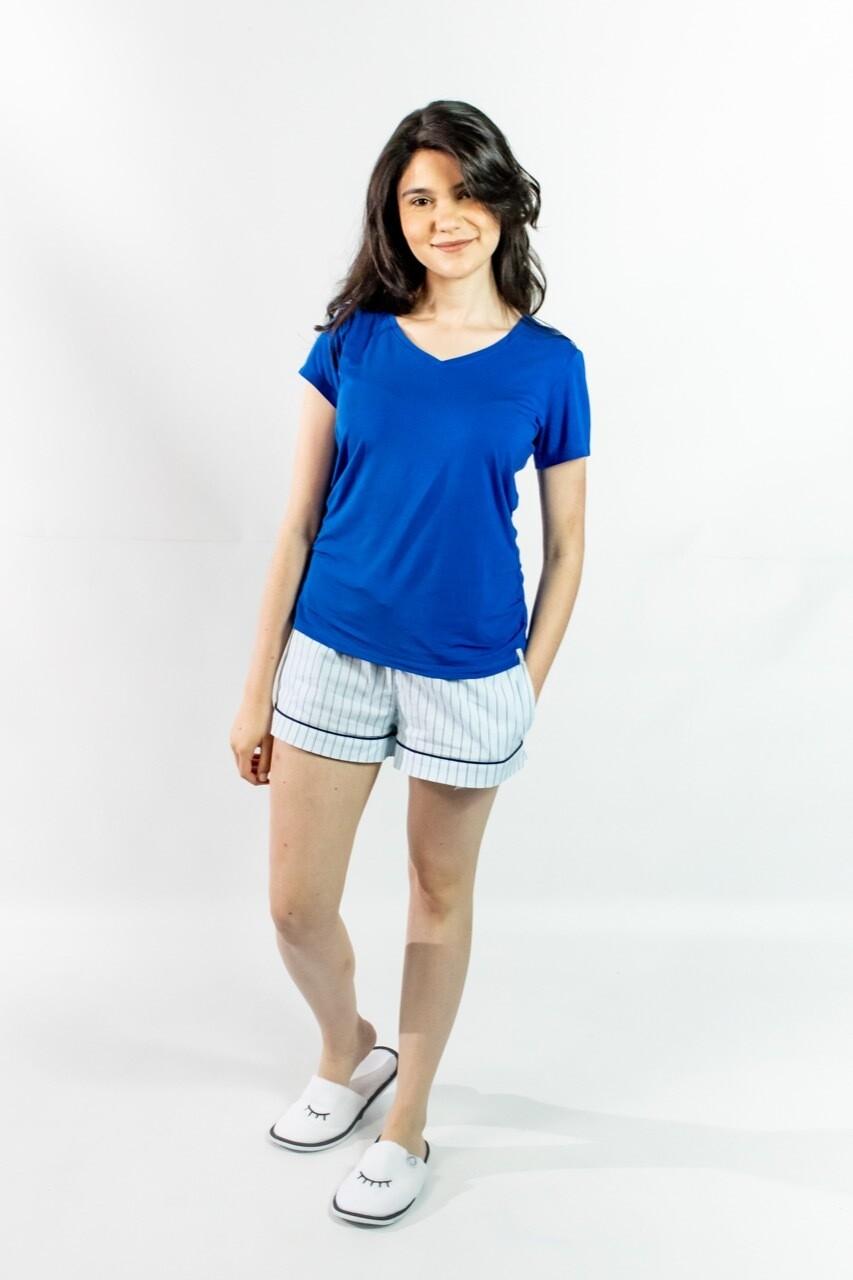 Short Pijama Cantel Sleep Dama Uniklo Blanco/Celeste Verano 2021