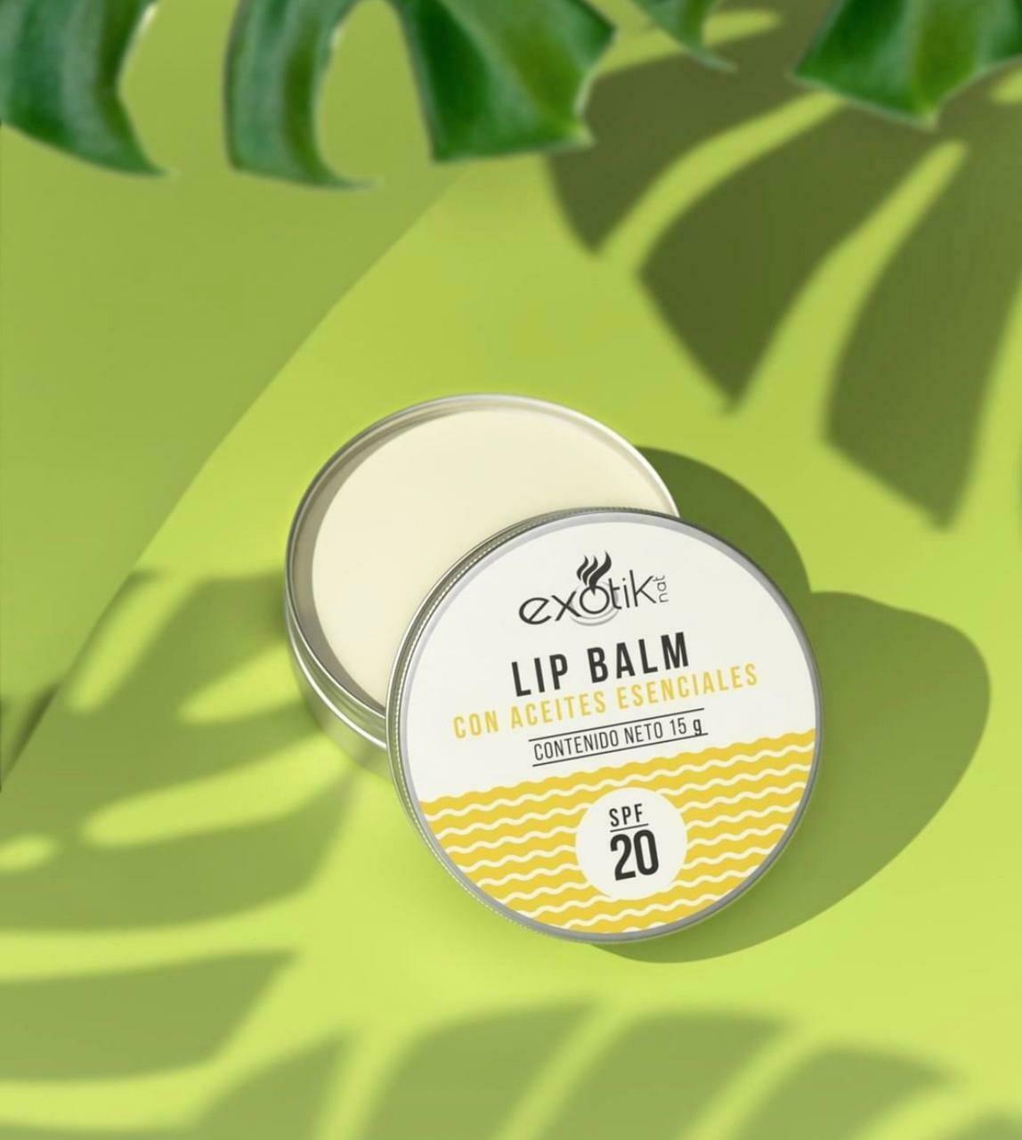 Balsamo Para Labios SFP 20 Con Aceites Esenciales Exotik 15g