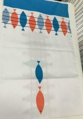 """Camino de mesa blanco tela resistente reversible subliminado """"peces"""" 59""""x17""""coral/azul"""