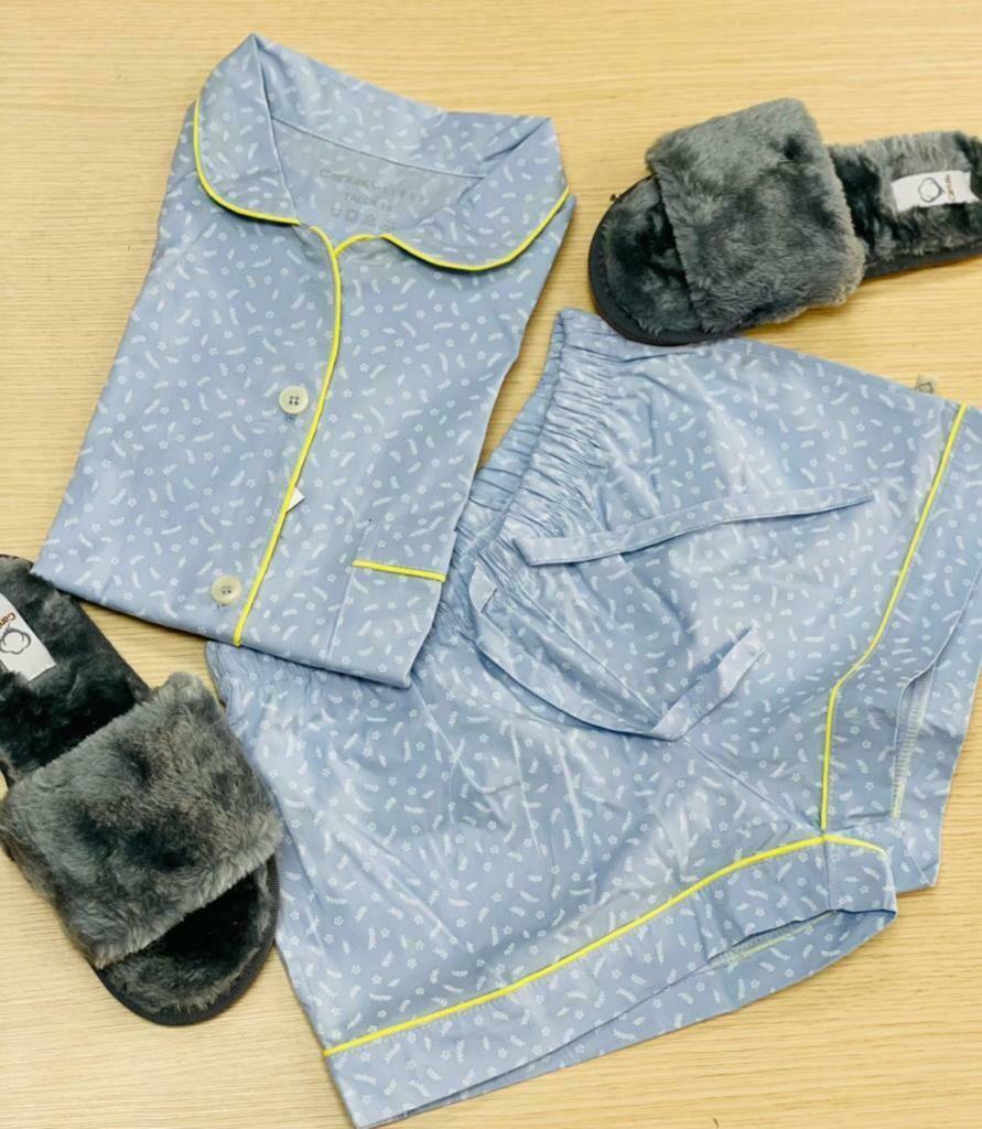 Pijama Cantel Sleep Dama Short Y Blusa Gris Germinica Elite Otoño 2021