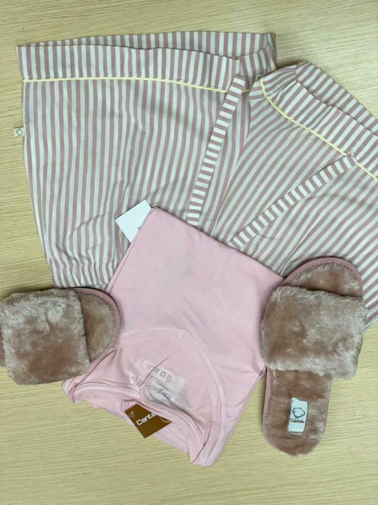 Short Pijama Cantel Sleep Dama Lineas Blanco/Rosa Otoño 2021