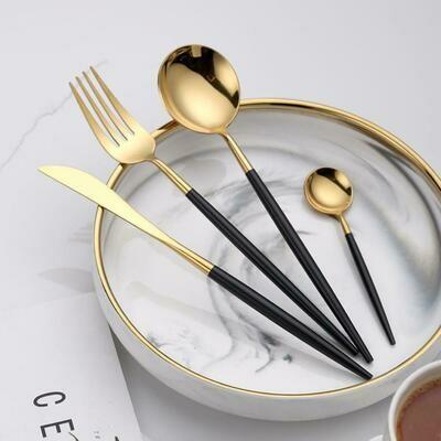 Set De 24 Cubiertos Negro/Oro Acero Inoxidable 410 Cantel Home