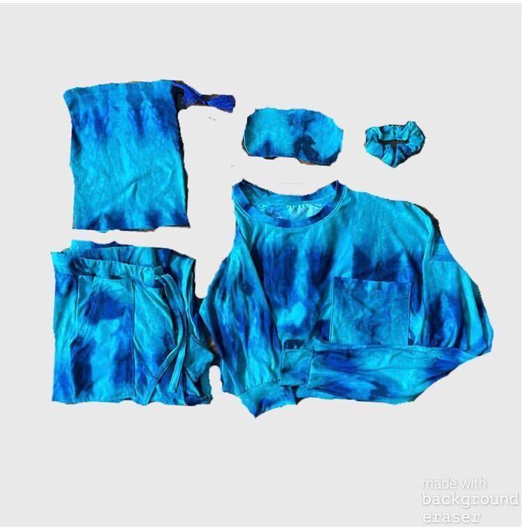 Pijama Cantel Sleep Adolescente Dama Pantalón Y Blusa Tie Dye Azul/Turqueza