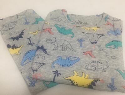 Pijama De Algodón Para Niño Grey Dinosaur