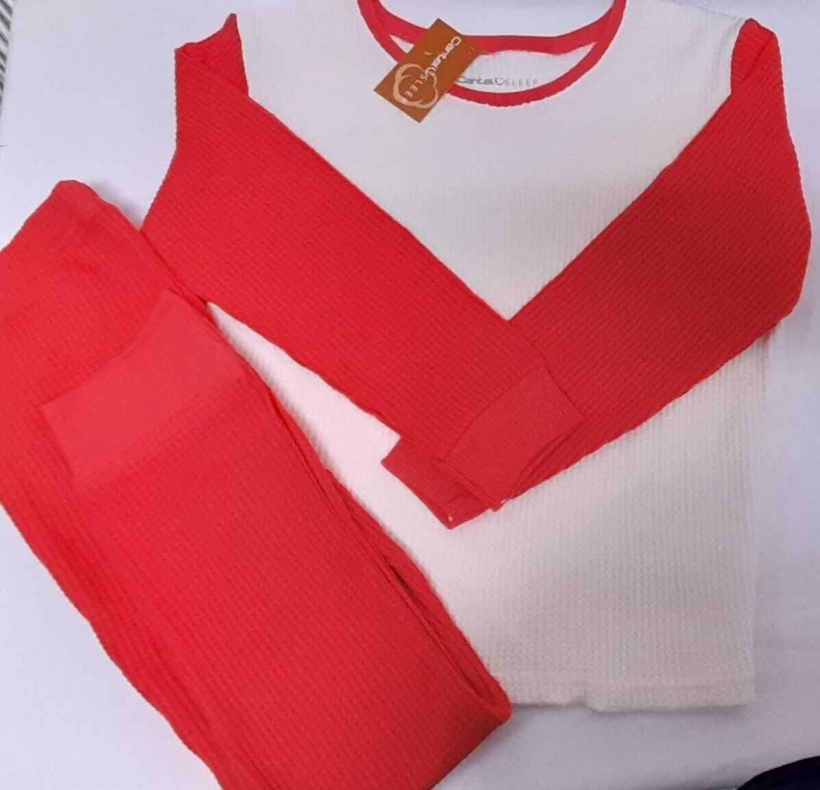 Pijama Térmica Para Niñas Rojo/Blanco