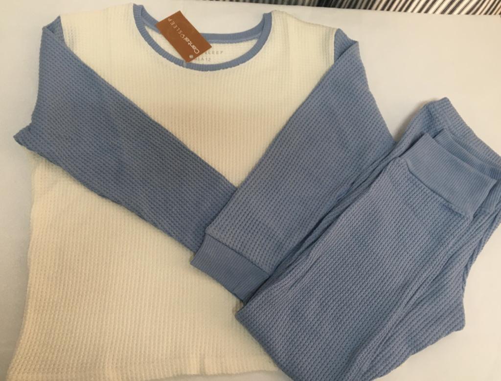 Pijama Térmica Unisex Celeste/Blanco