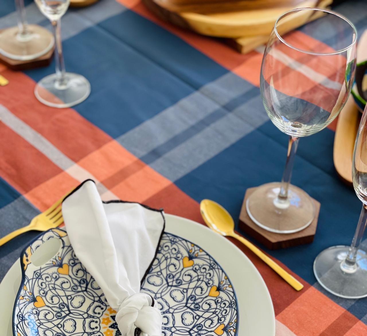Mantel Rectangular Otoño Azul