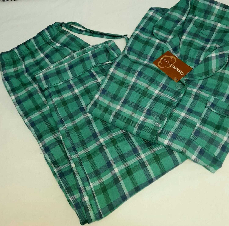 Pijama Cantel  Pantalón/Camisa Caballero Franela 100% Alg Cuadros Verde/Azul