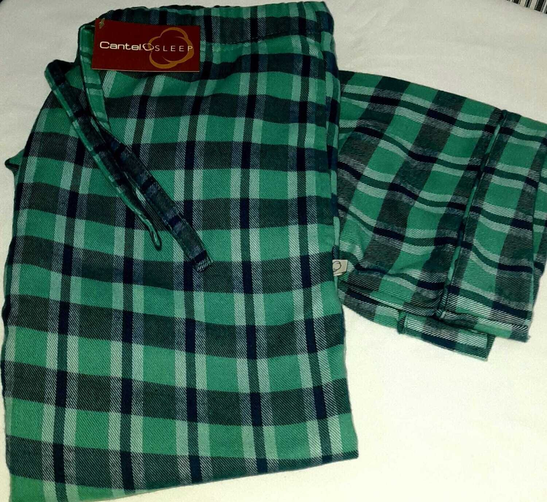Pantalón Pijama Cantel  Dama Franela 100% Algodón Cuadros Verde/Azul