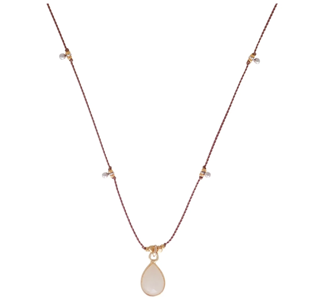 Bronwen Gemstone Necklace - Rainbow Moonstone