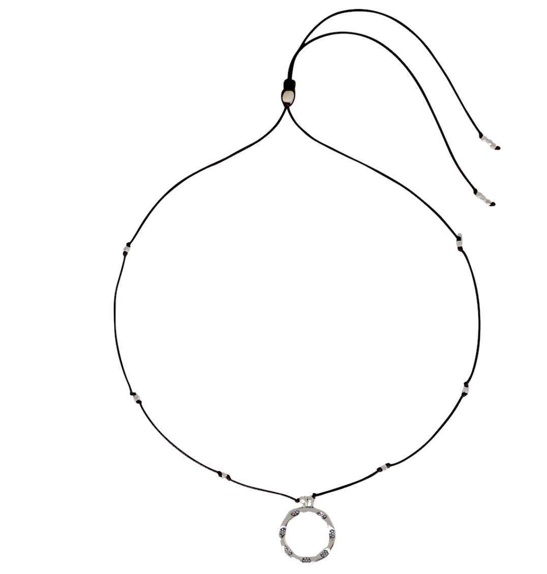 Bronwen Emergence Necklace Silver w/Black Cord