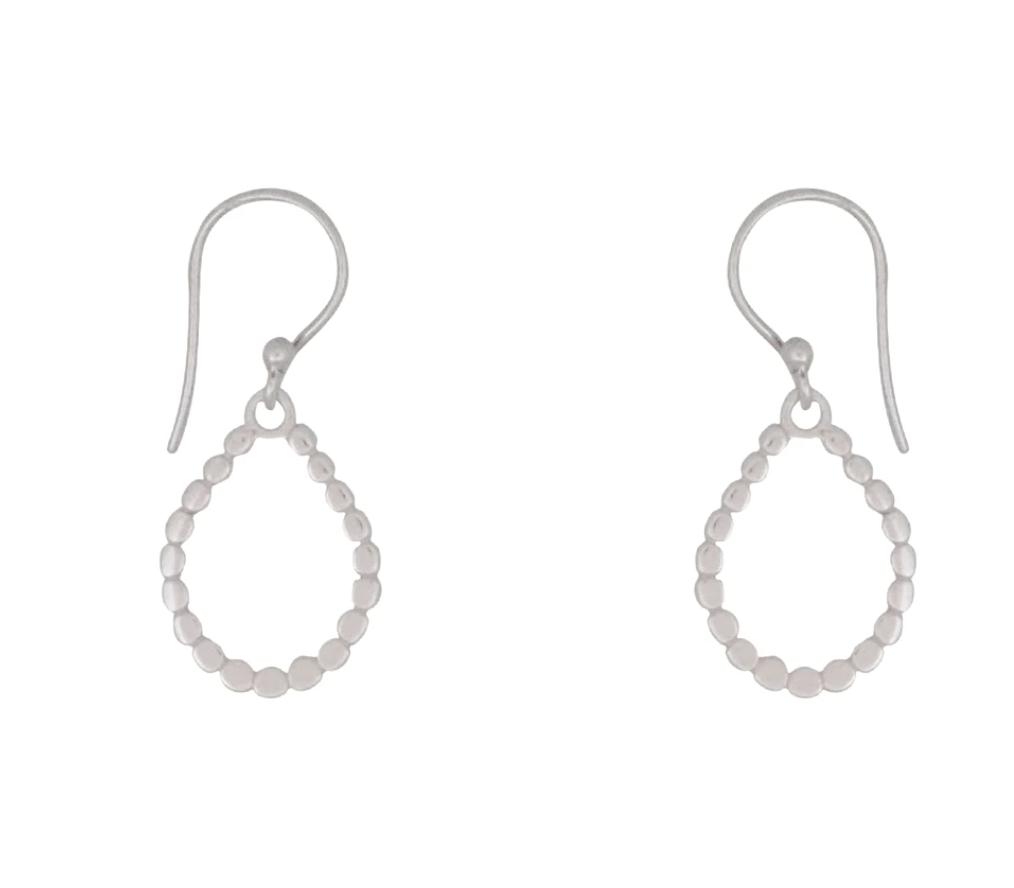 Bronwen Sun Disc Hoop Earrings Short Silver