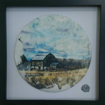 Encaustic Mixed Media  13x13 Framed