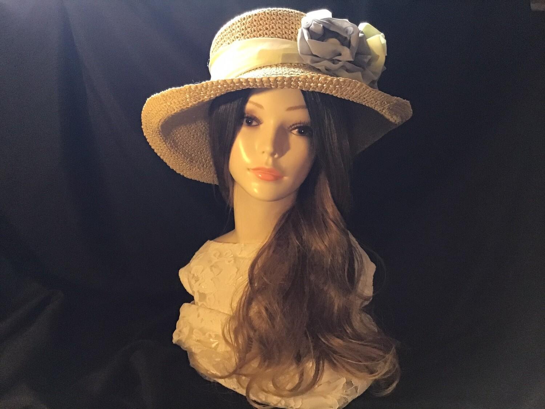 Summer Hat,Yellow, Beige, Floppy Kettle Brim, Tea Party, Wedding Hat, Vintage