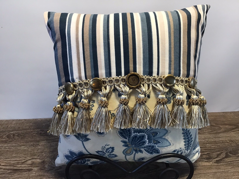 Blue/Tan Accent Pillow