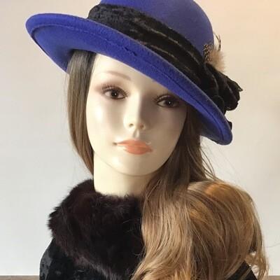 Blue Round Crown ..Up Brim Wool Felt Hat