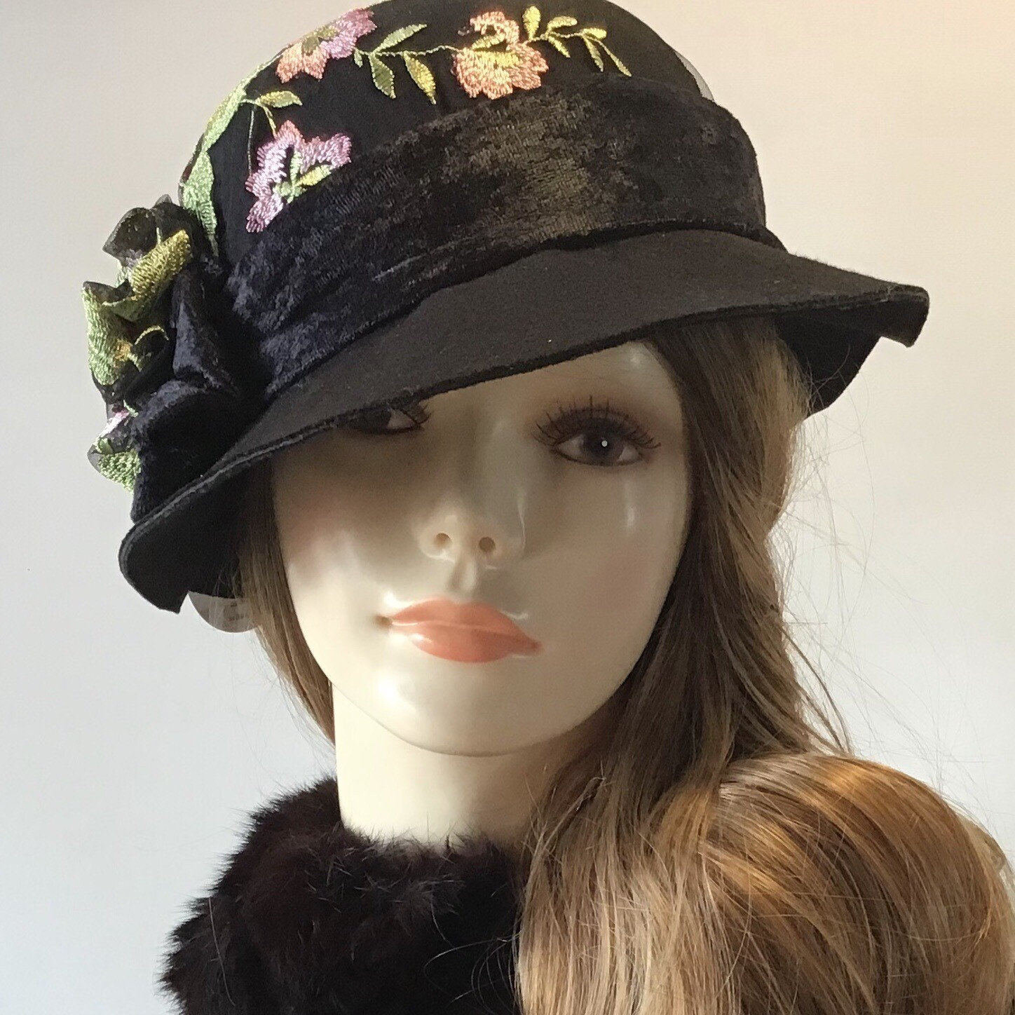 Black Wool Felted Wool Hat /w Black Velvet Embroidered Fabric