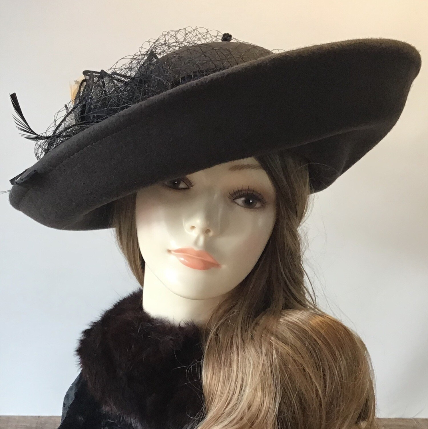 Brown Sideswiped Wool Blocked Hat