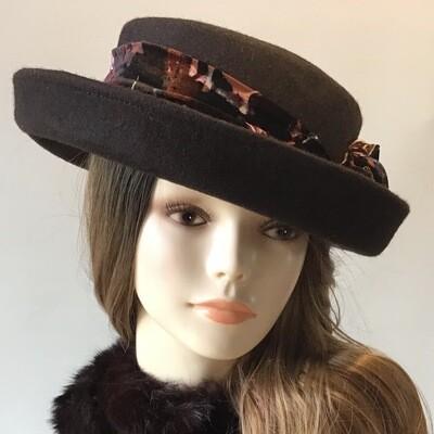 Brown Kettle Brim Flat Top Wool Hat