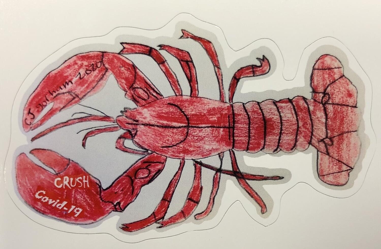 Crush Covid Lobster sticker