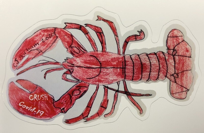 Crush Covid Lobster sticker