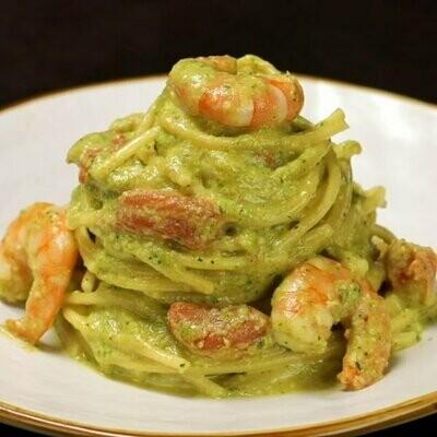 Linguini w/ pistachio cream and prawns