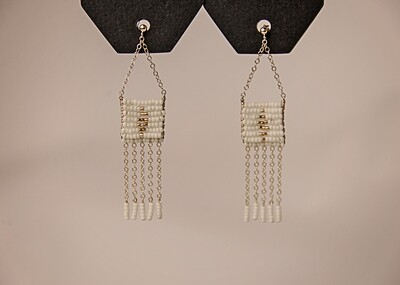 DIAMOND PENDANT 5 TASSLE EARRING
