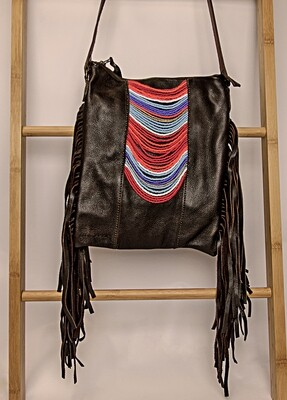 BROWN LEATHER & BEADED HANDBAG
