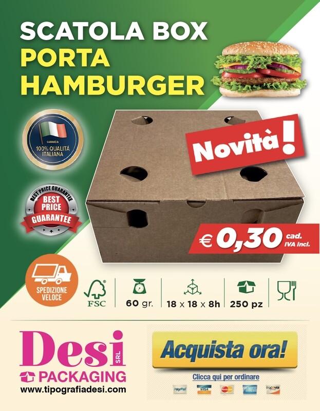 Scatola Box Porta Hamburger - Confezione da 250 pz