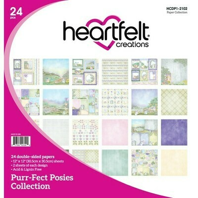 Purr-Fect Posies 12 x 12  Scrapbook Paper Collection