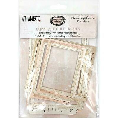 49 & Market - Vintage Artistry Coral Stitched Frames - 6 pcs