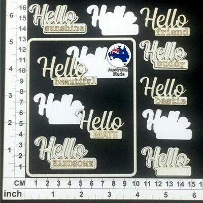 Scrapmatts Chipboard - CB6123 - White Words-  Hello