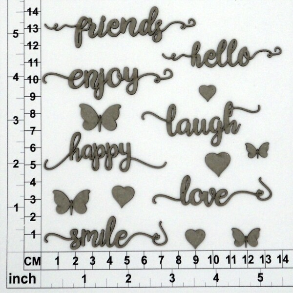 Scrapmatts Chipboard - CB6117 - Assorted Words - White Mist