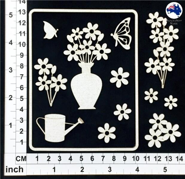 Scrapmatts Chipboard - CB6120 Floral Card Elements