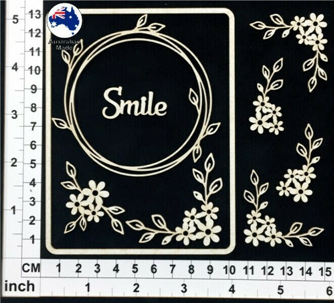 Scrapmatts Chipboard - CB6122  Floral - Smile -Card Elements