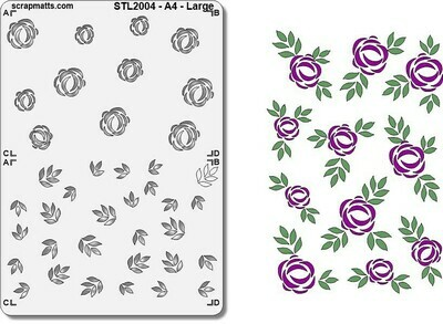 Scrapmatts Stencil- A4 Layered Roses and Leaves Large