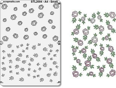 Scrapmatts - A4 Layered Roses and Leaves Small