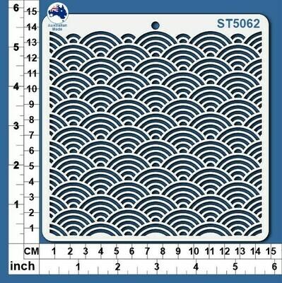 Scrapmatts Stencil - Scallop Pattern  Detail ST 5062