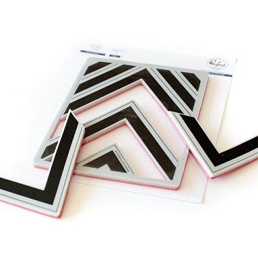 Pink Fresh -Nested Chevrons - 9 pcs
