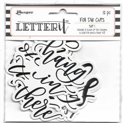 Ranger - Letter It - Gold Foil Die Cuts Set 1 - 12 pcs