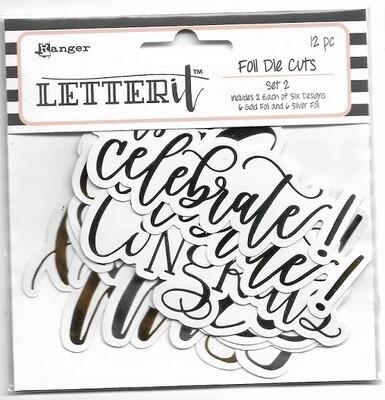 Ranger - Letter It - Gold Foil Die Cuts Set 2 - 12 pcs