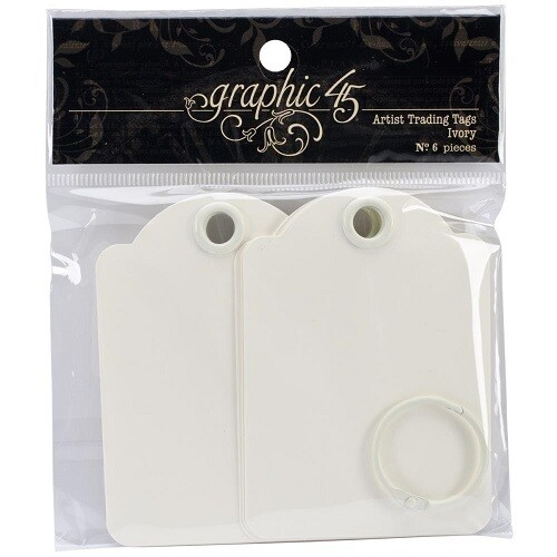Graphic 45 - Staples - Ivory Artist Trading Tags - 6Pcs