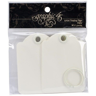 Graphic 45 - Ivory Artist Trading Tags - 6Pcs