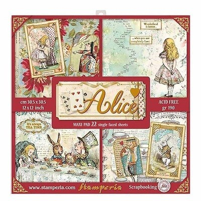 Stamperia - Alice Bulk Pack- 12 x 12 Paper Collection - 22 Sheets