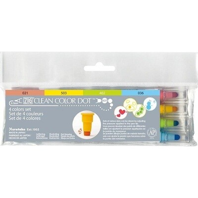 Zig Colour Dot Markers - Dual Tip 4 Pack